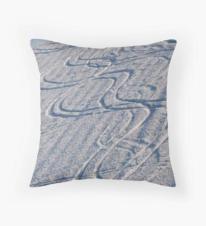 Snowy tracks Throw Pillow