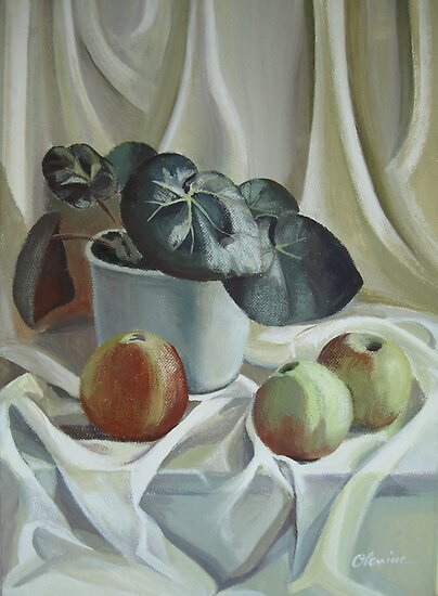 Apples and plant by Elena Oleniuc