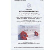 Private Doug Thwaites Photographic Print