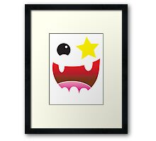 Crazy happy maniac face with stars and teeth  Framed Print