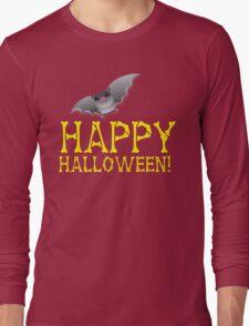 HAPPY HALLOWEEN in bones with cute bat  Long Sleeve T-Shirt