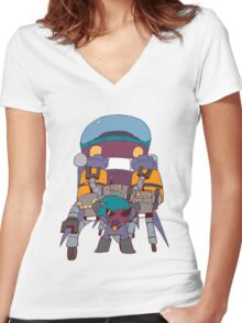 ROBOT RAMPAGE Women's Fitted V-Neck T-Shirt