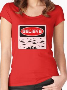 BELIEVE: UFO, FUNNY DANGER STYLE FAKE SAFETY SIGN Women's Fitted Scoop T-Shirt