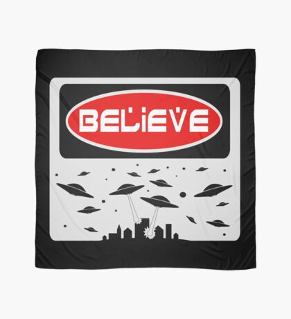BELIEVE: UFO, FUNNY DANGER STYLE FAKE SAFETY SIGN Scarf