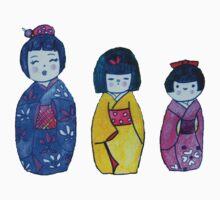 Three Kokeshi Tee by Alexandra Felgate