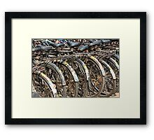 Commuter Bicycles, Mumbai, India Framed Print