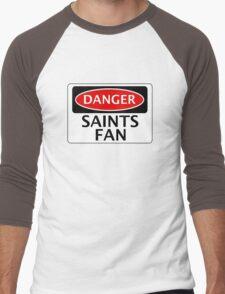 DANGER SAINTS FAN FAKE FUNNY SAFETY SIGN SIGNAGE Men's Baseball ¾ T-Shirt