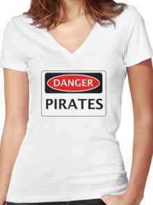 DANGER PIRATES FAKE FUNNY SAFETY SIGN SIGNAGE Women's Fitted V-Neck T-Shirt