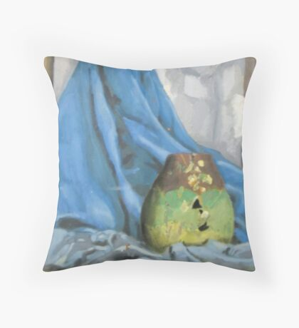 Early oil painting of cracked pot (me), fabric and mirror Throw Pillow