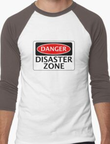 DANGER DISASTER ZONE FAKE FUNNY SAFETY SIGN SIGNAGE Men's Baseball ¾ T-Shirt