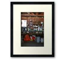 Tools in an old garage Framed Print