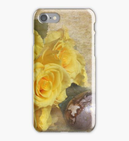 Yellow roses and painted egg iPhone Case/Skin