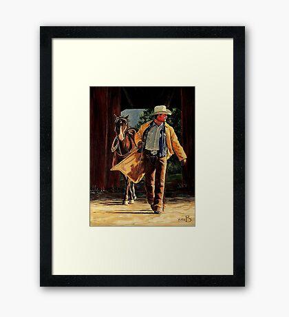 Cowboy Sunrise Framed Print