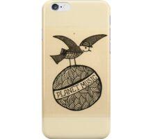 Planet music bird retro illustration iPhone Case/Skin