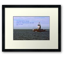 The Thing About Boats Framed Print