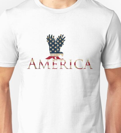 Eagle with Stars and Stripes American Flag Unisex T-Shirt