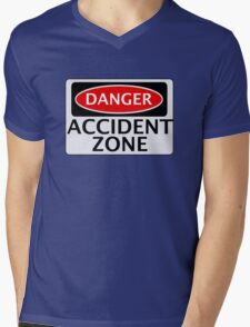 DANGER ACCIDENT ZONE FAKE FUNNY SAFETY SIGN SIGNAGE Mens V-Neck T-Shirt