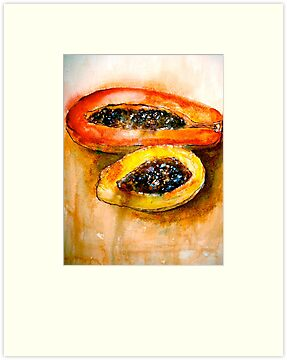 Still Life with Two Papayas by © Janis Zroback