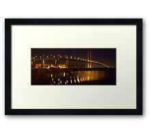 Panorama of the QE II Bridge at night Framed Print