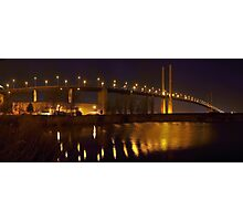 Panorama of the QE II Bridge at night Photographic Print