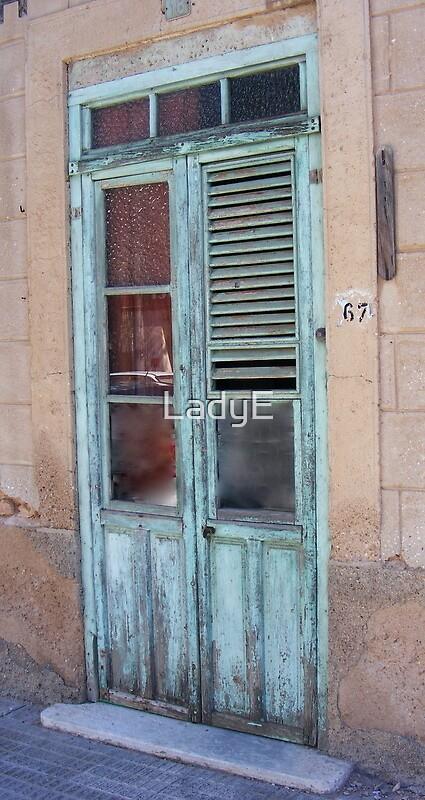 Dilapidated Green Door by LadyE