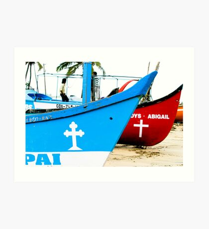 Red and Blue - River Boats Two Art Print