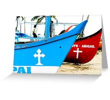 Red and Blue - River Boats Two Greeting Card