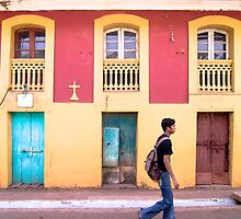 Yellow and Blue - Colored Wall by Chinua Ford