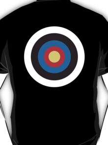 Bulls Eye, Right on Target, MOD Roundel, on BLACK T-Shirt