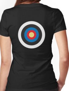 Bulls Eye, Target, MOD, Roundel, on BLACK Womens Fitted T-Shirt