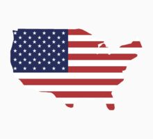 American Flag, Country Outline, America, Americana, Stars & Stripes, USA, Pure & Simple by TOM HILL - Designer