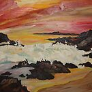 Sunset over ocean, and  lava rocks 16x 20 acrlic on canvas by eoconnor