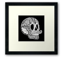 Mustache Sugar Skull (Black & White) Framed Print