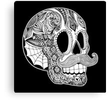Mustache Sugar Skull (Black & White) Canvas Print