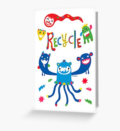 Recycle Monsters Greeting Card