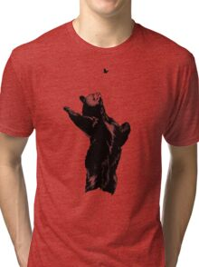 Bear Pawing at Butterfly Tri-blend T-Shirt