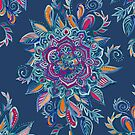 Deep Summer - Watercolor Floral Medallion by micklyn