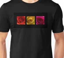 Triptych Orange Yellow & Pink Roses Unisex T-Shirt