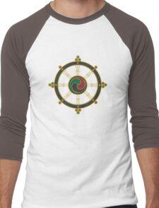 Buddhist Wheel of Dharma Men's Baseball ¾ T-Shirt