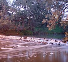 Murray River with Weir Flowing by wt9bind