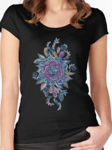 Deep Summer - Watercolor Floral Medallion Women's Fitted Scoop T-Shirt