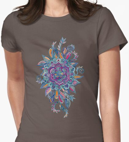 Deep Summer - Watercolor Floral Medallion Womens Fitted T-Shirt
