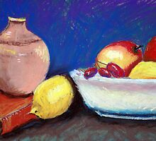 Still life of fruit and a book by Amy Greenberg