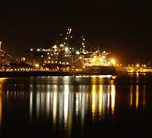 Port Kembla Container Berth Night Exposure by Stephen Jarrett