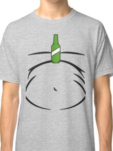 Beer Belly Fun Green Bottle Balancing on Stomach Classic T-Shirt
