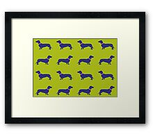 Sausage Dogs - blue & green  Framed Print