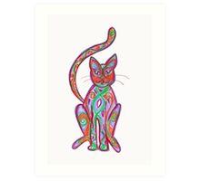 coloured cat Art Print