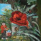 In my garden 16 x20 acrylic by eoconnor
