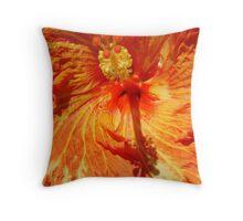 Orange-Red Hibiscus-(Macro) Throw Pillow