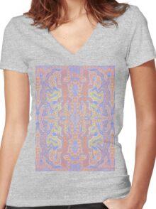 Fluorescent Pastel Aborigine Women's Fitted V-Neck T-Shirt